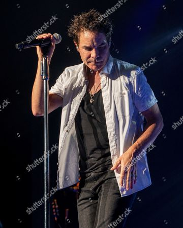 Train lead vocalist Pat Monahan performs with the band at the Xfinity Center, in Mansfield, Mass