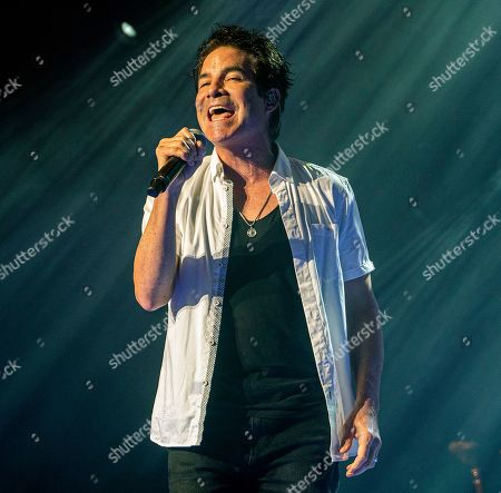 Stock Image of Train lead vocalist Pat Monahan performs with the band at the Xfinity Center, in Mansfield, Mass