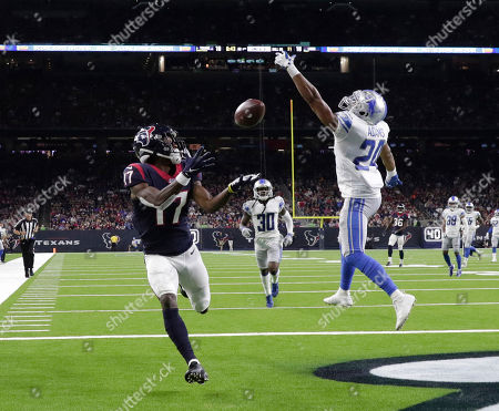 Stock Picture of Houston Texans wide receiver Vyncint Smith (17) catches a pass for a touchdown as Detroit Lions defensive back Andrew Adams (24) defends during the first half of an NFL preseason football game, in Houston