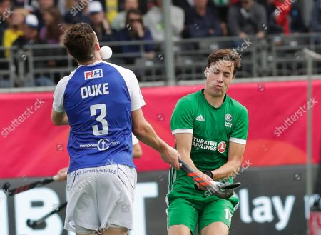 Sean Murray (R) of Ireland and Callum Duke of Scotland in action during the EuroHockey 2019 Me match between Ireland and Scotland in Antwerp, Belgium, 18 August 2019.