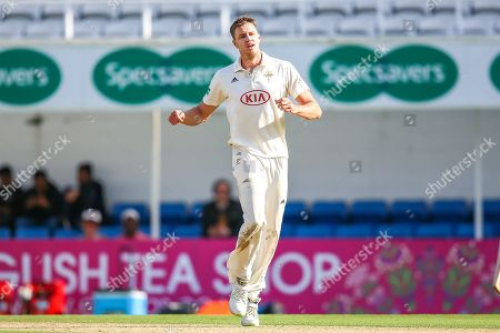 Morne Morkel of Surrey bowling comes close during the Specsavers County Champ Div 1 match between Surrey County Cricket Club and Hampshire County Cricket Club at the Kia Oval, Kennington