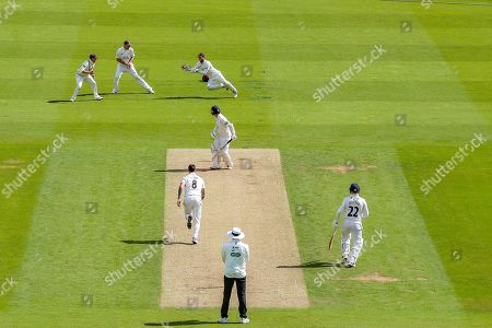 Wicket, Felix Organ of Hampshire is caught by Ben Foakes of Surrey bowled Jordan Clark of Surrey during the Specsavers County Champ Div 1 match between Surrey County Cricket Club and Hampshire County Cricket Club at the Kia Oval, Kennington