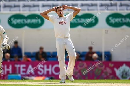 Morne Morkel of Surrey concedes four runs during the Specsavers County Champ Div 1 match between Surrey County Cricket Club and Hampshire County Cricket Club at the Kia Oval, Kennington