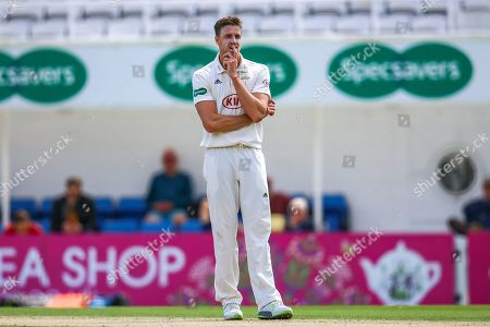 Morne Morkel of Surrey contemplates his last bowl during the Specsavers County Champ Div 1 match between Surrey County Cricket Club and Hampshire County Cricket Club at the Kia Oval, Kennington