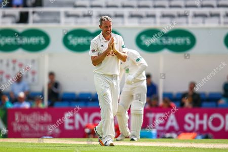 Rikki Clarke of Surrey reacts to Ben Foakes of Surrey just failng to make a catch on the boundary during the Specsavers County Champ Div 1 match between Surrey County Cricket Club and Hampshire County Cricket Club at the Kia Oval, Kennington