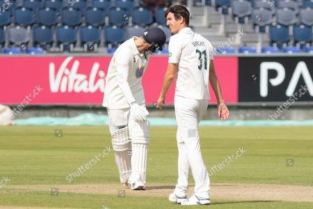 WICKET - Peter Handscomb is LBW to Chris Wright during the Specsavers County Champ Div 2 match between Durham County Cricket Club and Leicestershire County Cricket Club at the Emirates Durham ICG Ground, Chester-le-Street