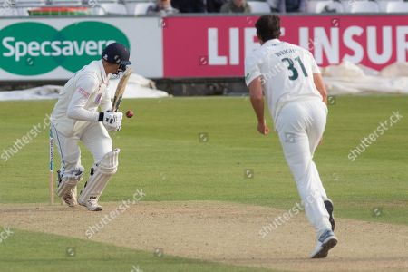Jack Burnham leg glances Chris Wright for 4 during the Specsavers County Champ Div 2 match between Durham County Cricket Club and Leicestershire County Cricket Club at the Emirates Durham ICG Ground, Chester-le-Street