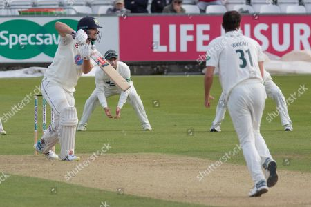Alex Lees drives Chris Wright for 4 during the Specsavers County Champ Div 2 match between Durham County Cricket Club and Leicestershire County Cricket Club at the Emirates Durham ICG Ground, Chester-le-Street