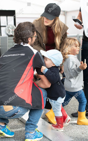 Princess Sofia (C, background) and Prince Carl Philip of Sweden (L) with their children, Prince Gabriel (C front) and Prince Alexander (R), prepare for a visit to the Gellerasen Motor stadium in Karlskoga, Sweden, 18 August 2019. Prince Carl Philip of Sweden has been competing as a racing driver in various touring car championships and endurance races in Scandinavia.