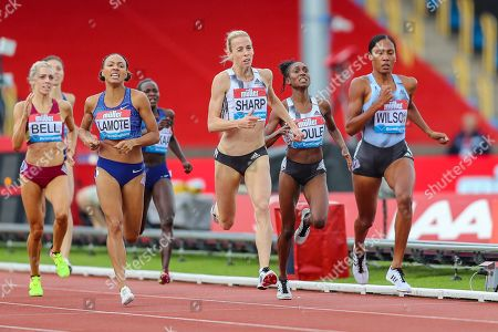 Ajee WILSON of the United States outruns Lynsey SHARP of Great Britain & NI to win the Women's 800m during the Muller Grand Prix at Alexander Stadium, Birmingham