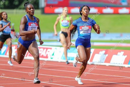 Dina ASHER-SMITH of Great Britain & NI and Shelly-Ann FRASER-PRYCE of Jamaica in the Women's 200m Final during the Muller Grand Prix at Alexander Stadium, Birmingham