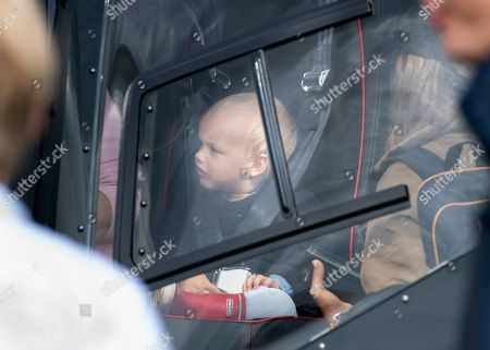 Prince Gabriel, son of Swedish Prince Carl Philip and Princess Sofia of Sweden sits in a helicopter as the family visits the Gellerasen Motor arena in Karlskoga, Sweden, 18 August 2019. They were accompanying Prince Carl Philip of Sweden (not in picture) who was driving one of the VIP cars during the Scandinavian Porsche Carrera Cup the same day. The only son of Swedish King Carl Gustav and Queen Silvia has already been competing as a racing driver in various touring car championships and endurance races in Scandinavia in the past.