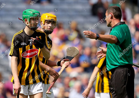Stock Picture of Kilkenny vs Galway. Kilkenny's Peter McDonald with referee Patrick Murphy