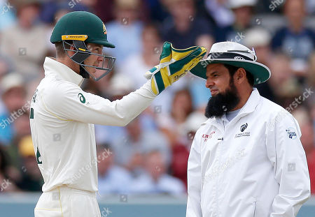 Tim Paine the Australia wicketkeeper/captain argues with Umpire Aleem Dar after a referall is turned down