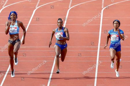 Shaunae Miller-Uibo (Bahamas), Dina Asher-Smith (Great Britain), Shelly-Ann Fraser-Pryce (Jamaica), Women's 200m, during the Muller Grand Prix at the Alexander Stadium, Birmingham