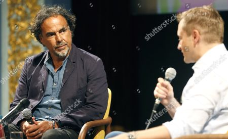 Alejandro Gonzalez Inarritu (L) attends a masterclass lecture within the 25th Sarajevo Film Festival at the National Theater in Sarajevo, Bosnia and Herzegovina, 18 August 2019. Gonzalez Inarritu during the festival was honored with the 2019 Honorary Heart of Sarajevo Award on 16 August. The 25th Sarajevo Film Festival runs from 16 to 23 August 2019 and will present about 270 films. On right is moderator Mike Goodridge, the Artistic Director of the International Film Festival & Awards Macao (IFFAM).