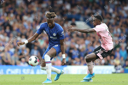 Chelsea Forward Tammy Abraham & Leicester City defender Ricardo Pereira (21) during the Premier League match between Chelsea and Leicester City at Stamford Bridge, London