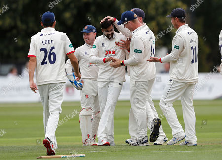 Mohammad Amir of Essex is mobbed after bowling Zak Crawley during Kent CCC vs Essex CCC, Specsavers County Championship Division 1 Cricket at The Spitfire Ground on 19th August 2019