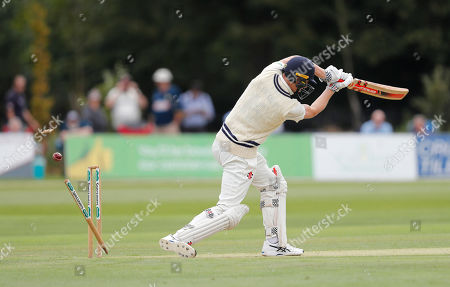 Zak Crawley of Kent is bowled by Mohammad Amir during Kent CCC vs Essex CCC, Specsavers County Championship Division 1 Cricket at The Spitfire Ground on 19th August 2019