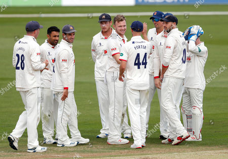 Sam Cook (C) of Essex is congratulated after taking the wicket of Sam Billings during Kent CCC vs Essex CCC, Specsavers County Championship Division 1 Cricket at The Spitfire Ground on 19th August 2019