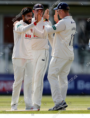 Mohammad Amir (L) of Essex is congratulated after bowling Ollie Rayner during Kent CCC vs Essex CCC, Specsavers County Championship Division 1 Cricket at The Spitfire Ground on 19th August 2019