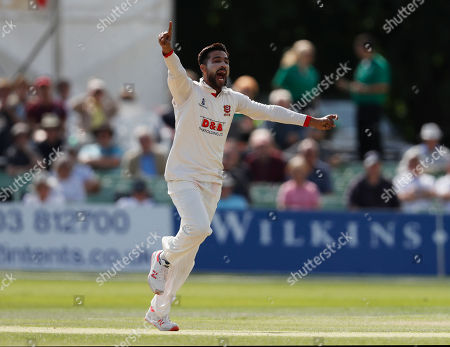 Mohammad Amir of Essex celebrates after bowling Ollie Rayner during Kent CCC vs Essex CCC, Specsavers County Championship Division 1 Cricket at The Spitfire Ground on 19th August 2019