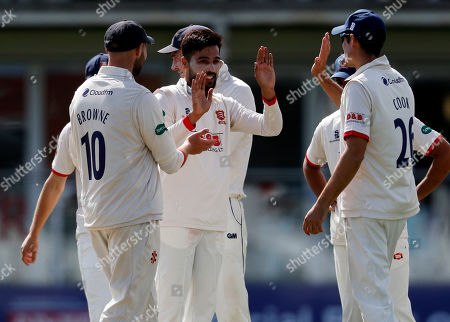 Mohammad Amir (C) of Essex is congratulated after bowling Ollie Rayner during Kent CCC vs Essex CCC, Specsavers County Championship Division 1 Cricket at The Spitfire Ground on 19th August 2019