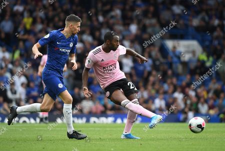 Chelsea's Jorginho (L) in action against Leicester's Ricardo Pereira (R) during the English Premier League soccer match between Chelsea FC and Leicester FC at Stamford Bridge in London, Britain, 18 August 2019.