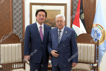 Palestinian President Mahmoud Abbas meets with chairman of the Foreign Relations Committee of the Japanese House of Representatives Kenji Wakamiya