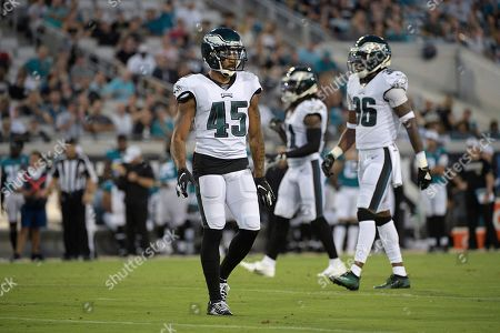 Philadelphia Eagles defensive back Orlando Scandrick (45) sets up for a play during the first half of an NFL preseason football game against the Jacksonville Jaguars, in Jacksonville, Fla