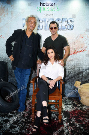 Bollywood Director Sudhir Mishra, actors Ronit Roy and Tisca Chopra during an exclusive screening of Hotstar Specials show