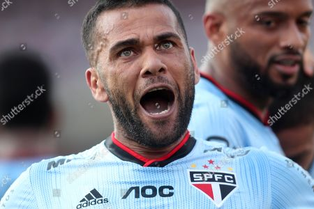Sao Paulo's Daniel Alves celebrates a goal during a Brazilian soccer league match between Sao Paulo and Ceara at the Morumbi stadium, in Sao Paulo, Brazil, 18 August 2019.