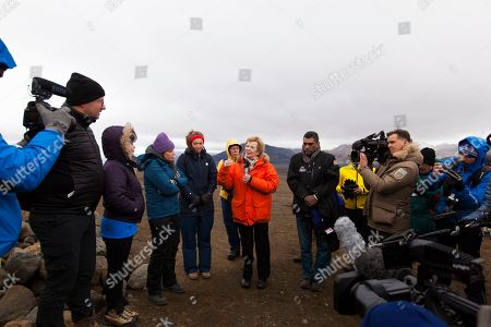 Former president of Ireland and former United Nations High Commissioner for Human Rights Mary Robinson (C) holds a speech before the installation of the plaque commemorating the loss of Iceland's Okjoekull glacier to climate change, during a public ceremony in Borgarfjordur, Iceland, 18 August 2019. The plaque in Icelandic and English language commemorating the Ok (short for Okjoekull) glacier, is named 'A Letter To The Future', and states that all of Iceland's glaciers are expected to follow the same path in the next 200 years. Researchers hope that the plaque, which is the first of its kind in the world, will draw attention to the climate crisis. With her (L-R) Andri Snaer Magnason, Cymene Howe, Icelandic prime minister Katrin Jakobsdottir, an unidentified young Icelandic activist, Oddur Sigurdsson and Secretary General of Amnesty International Kumi Naidoo.