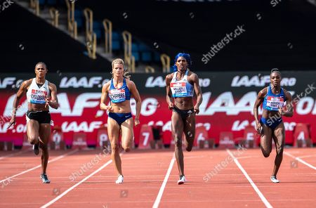 Blessing Okagbare (NGR), Dafne Schippers (NED), Shaunae Miller-Uibo (BAH) and Dina Asher-Smith (GBR) compete in the 200m