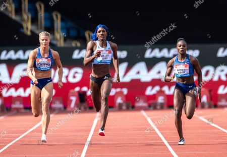 Dafne Schippers (NED), Shaunae Miller-Uibo (BAH) and Dina Asher-Smith (GBR) compete in the 200m