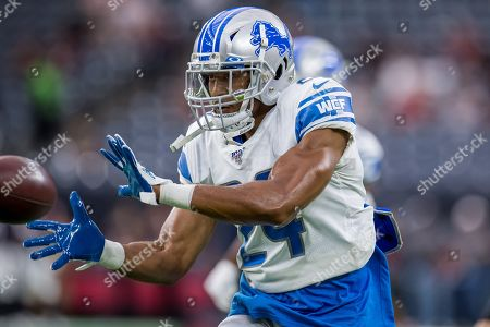 Detroit Lions defensive back Andrew Adams (24) prior to an NFL football pre-season game between the Detroit Lions and the Houston Texans at NRG Stadium in Houston, TX