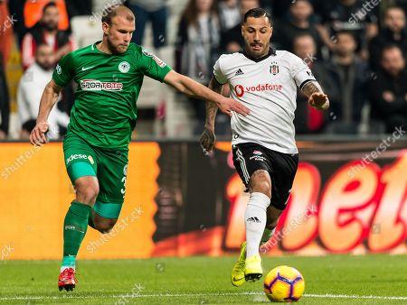 (L-R) Yevhen Opanasenko of Atiker Konyaspor, Ricardo Andrade Quaresma Bernardo of Besiktas JK
