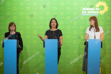 (L-R) Greens' top candidate for the state elections in Brandenburg of Alliance 90 / The Greens Ursula Nonnemacher, Federal Co-Chairwoman of Alliance 90 / The Greens (Buendnis 90/Die Gruenen) party Annalena Baerbock, top candidate for the state election in Saxony of Alliance 90 / The Greens Katja Meier, attend a press conference after the board meeting of the federal Alliance 90/The Greens party in Berlin, Germany, 19 August 2019.