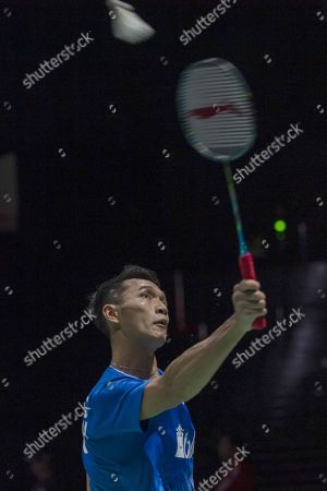 Indonesia's Jonatan Christie in action during his men's singles first round match against England's Rajiv Ouseph at the BWF Badminton World Championships in the St. Jakobshalle in Basel, Switzerland, 19 August 2019.