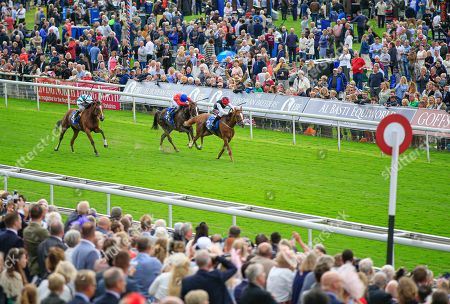 22nd August 2019 , York Racecourse, York, Great Britain; 2019 Darley Yorkshire Oaks/Ladies Day ; Search For A Song ridden by Oisin Murphy (black & white) runs on to win The British EBF & Sir Henry Cecil Galtres Stakes Credit Conor Molloy/News Images