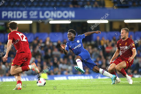 Liverpool's Herbie Kane fouls Tariq Lamptey of Chelsea and moments later Kane was shown a yellow card for the challenge during Chelsea Under-23 vs Liverpool Under-23, Premier League 2 Football at Stamford Bridge on 19th August 2019