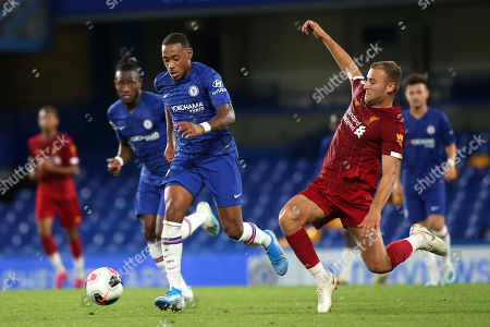 Stock Photo of Juan Castillo of Chelsea tries to elude a tackle from Liverpool's Herbie Kane during Chelsea Under-23 vs Liverpool Under-23, Premier League 2 Football at Stamford Bridge on 19th August 2019