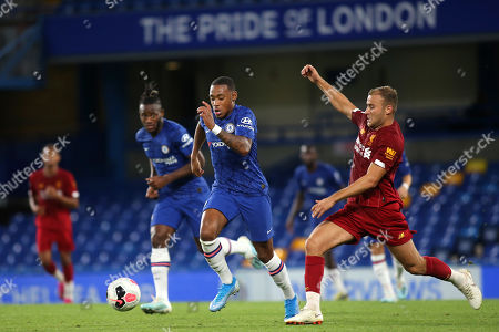 Juan Castillo of Chelsea tries to elude a tackle from Liverpool's Herbie Kane during Chelsea Under-23 vs Liverpool Under-23, Premier League 2 Football at Stamford Bridge on 19th August 2019
