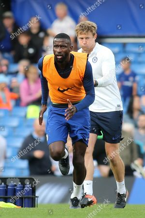 Antonio Rudiger of Chelsea warms up ahead of kick-off during Chelsea Under-23 vs Liverpool Under-23, Premier League 2 Football at Stamford Bridge on 19th August 2019