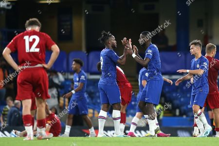 Antonio Rudiger of Chelsea and Michy Batshuayi embrace at the final whistle after playing the entire 90 minutes during Chelsea Under-23 vs Liverpool Under-23, Premier League 2 Football at Stamford Bridge on 19th August 2019