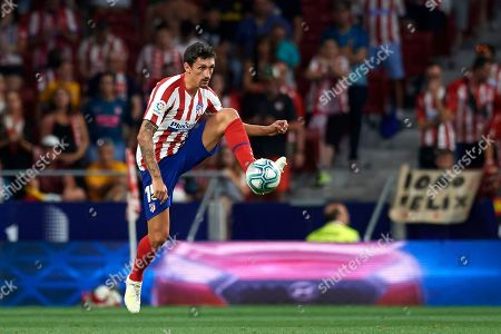 Stefan Savic of Atletico Madrid controls the ball