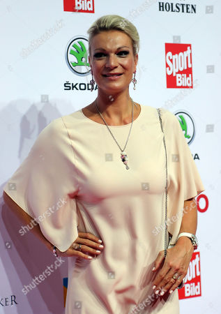 German former alpine ski racer Maria Hoefl-Riesch poses on the red carpet at the Sportbild Award in Hamburg, Germany, 19 August 2019. The newspaper's award is granted to athletes since 2003.