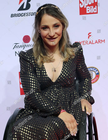 Stock Image of German former cyclist Kristina Vogel poses on the red carpet at the Sportbild Award in Hamburg, Germany, 19 August 2019. The newspaper's award is granted to athletes since 2003.