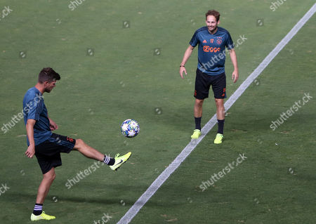 Ajax's Daley Blind (R) during a training session at the Georges St-Pierre stadium in Nicosia, Cyprus,19 August 2019. Ajax Amsterdam will face APOEL Nicosia in their UEFA Champions League play-off first leg soccer match on 20 August 2019.