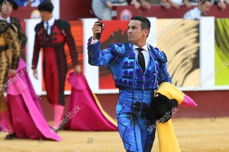 Stock Picture of Spanish bullfighter Jose Maria Manzanares reacts after his first bull at La Malagueta bullring in Malaga, Spain, 19 August 2019. The event, which is celebrated within the framework of the Malaga Fair, runs from 15 to 24 August.